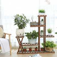 Wooden Plant Flower Pot Stand Garden Planter Nursery Pot Stand Shelf Indoor Outdoor Garden Decoration Gifts Tools With Wheels