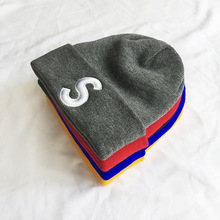 Korean Embroidery Letters S Knitted Caps Autumn Winter Brand Skullies B