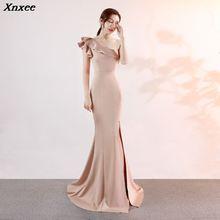 Xnxee Women Party Dress One Shoulder Sleeve Reffles Sleeveless Mermaid Split Elegant Formal Evening