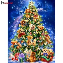 Huacan Diamond Embroidery Christmas Tree Painting Cross Stitch Bear Full Square Drill Rhinestones Gift Mosaic