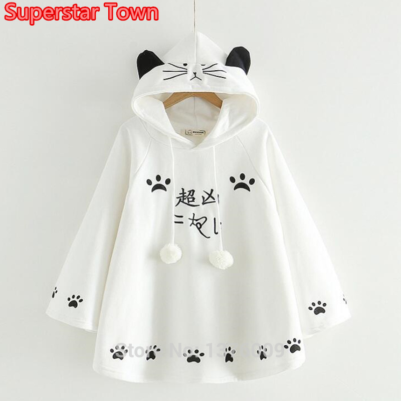 Lolita Cloak Angry Cat Harajuku Style Mori Girls Cloaks Lovely Cat Paws Women Autumn Winter Sweet Cape Student School Wear Tops