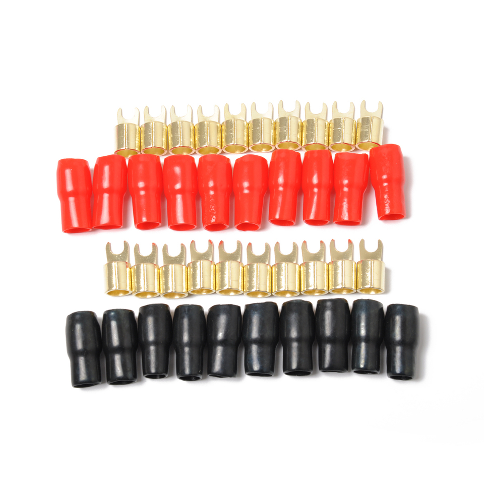Red and Black 5 Pairs Copper Gold Plated 4 Gauge Strip Spade Terminal Spade Fork Adapters Connectors Plugs Crimp Barrier Spades for Speaker Wire Cable Terminal Plug 4GA