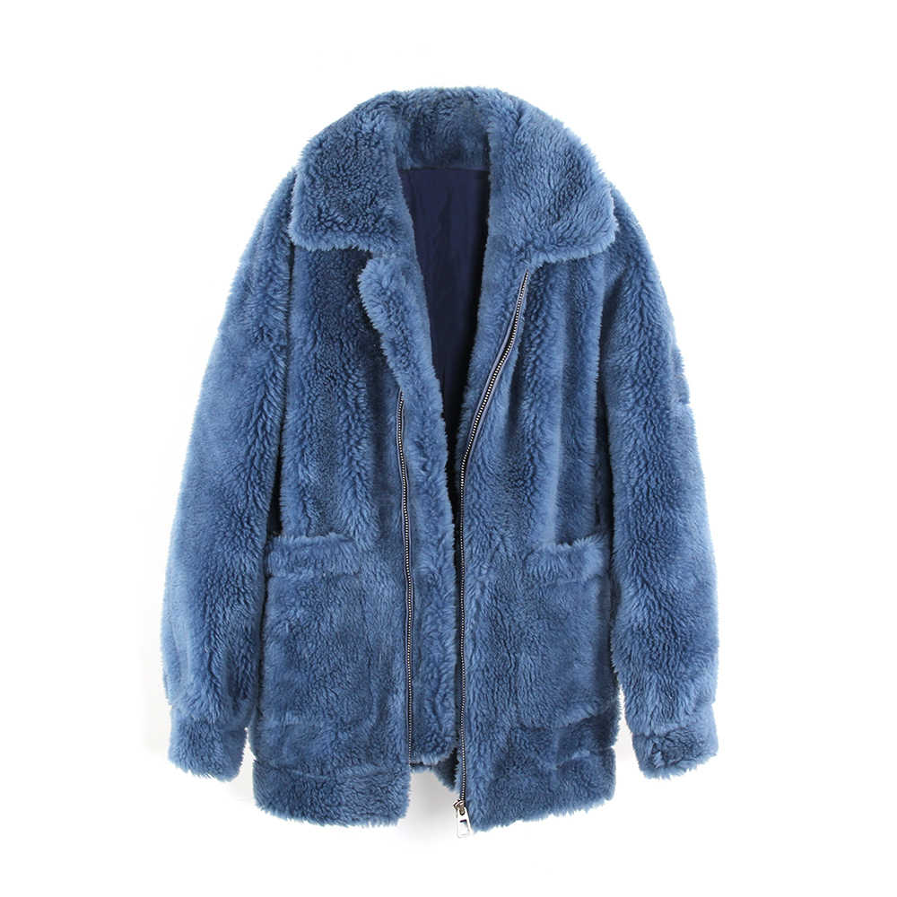 Winter Outdoor New Fashion Street Womens Coat Real Sheep Fur Oversized Jacket Camping Trekking Climbing Thick Warm Outerwear