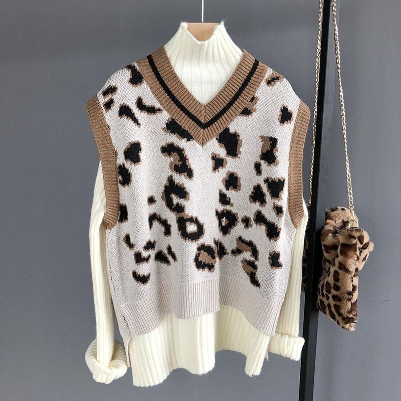 Mooirue Winter 2018 Leopard Vest Femme Kawaii Knitted Sweater Korean Sleeveless Slim Jumper Femme Pullover