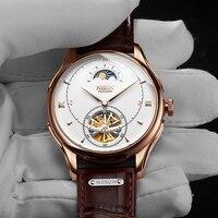 NESUN Мужские автоматические водонепроницаемые механические наручные часы Роскошные спортивные часы модные брендовые Мужские часы скелетон