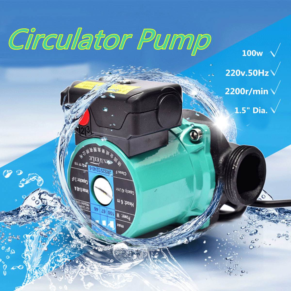 100W 220V Indoor Hot Water Air Heating Circulator Boiler Pump Adjustable Switch Heating System Circulation Pumps Accessories