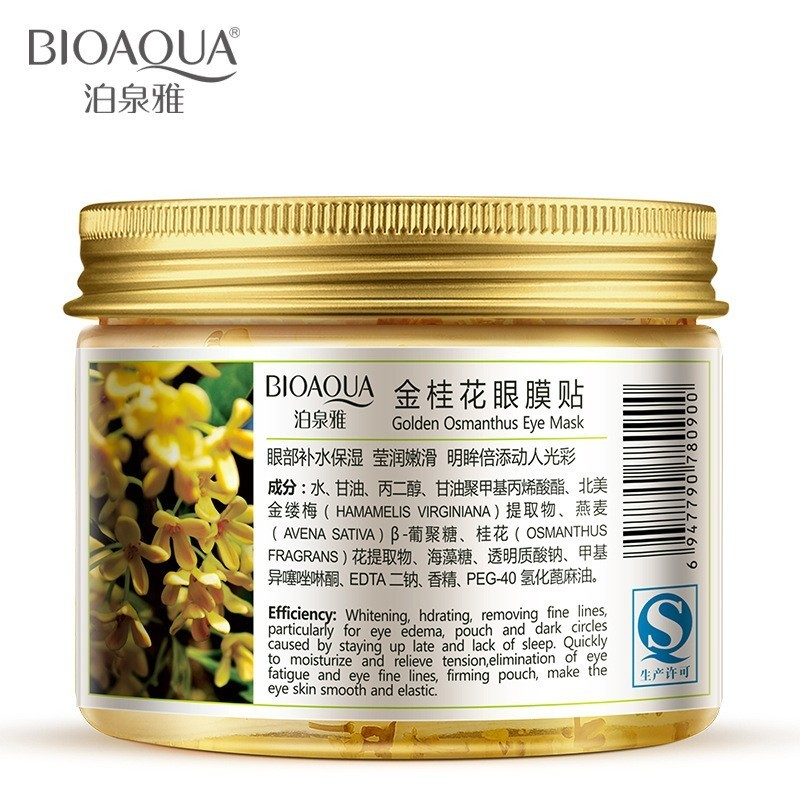 80 Pcs Bottle BIOAQUA Gold Osmanthus Eye Mask Women Collagen Gel Whey Protein Face Care Sleep