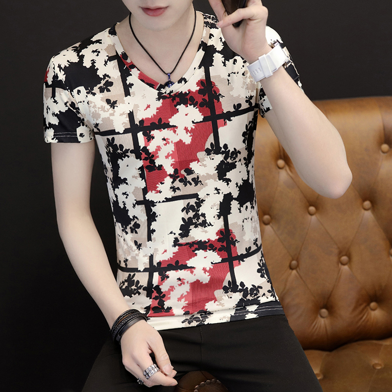 2019 Male Short Sleeve T-shirt slimming v collar half sleeve t-shirt-shirts color clothes 2