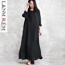 937f1f9265 LANMREM 2019 wiosna lato Casual Retro Temperament czarna sukienka pasek  żakardowe pościel bawełniana długie ubrania dla kobiet Y..