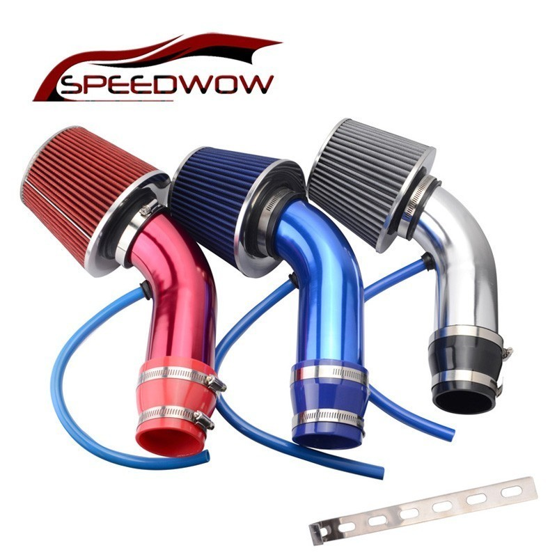 SPEEDWOW Alumimum 3 ''75 millimetri Auto Sistema di Aspirazione Dell'aria Fredda Turbo Induzione Tubo Tubo + Cono Filtro Aria