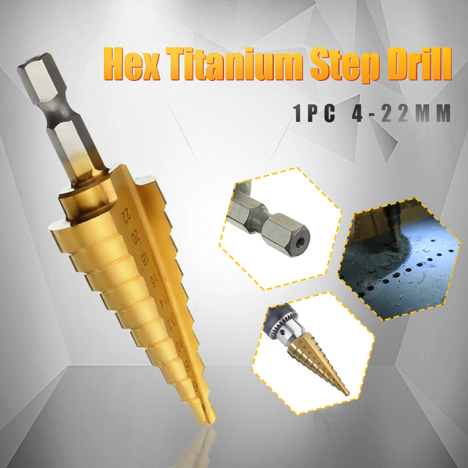 1 buc Durabilă Hex Hex Titanium Step Conone Bit Tool Instrument electric pentru tăietorul găurilor de prelucrare a lemnului 4-22 MM HSS 4241 pentru tablă