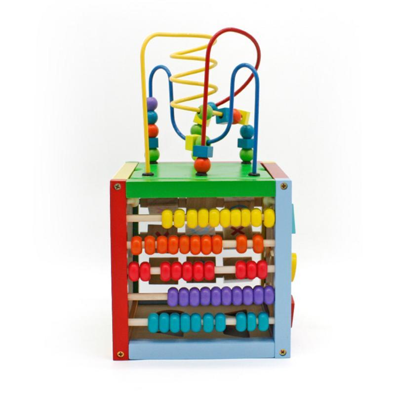 8X8 pouces en bois apprentissage perle labyrinthe Cube 5 en 1 activité Center éducatif jouet multicolore
