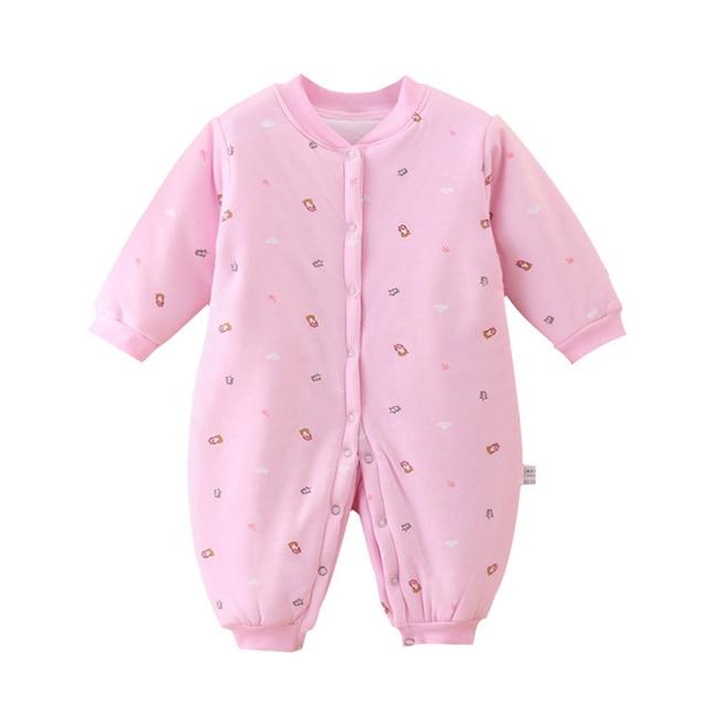 Newborn Baby Boys Girls Romper Bears Pattern Warm Cotton