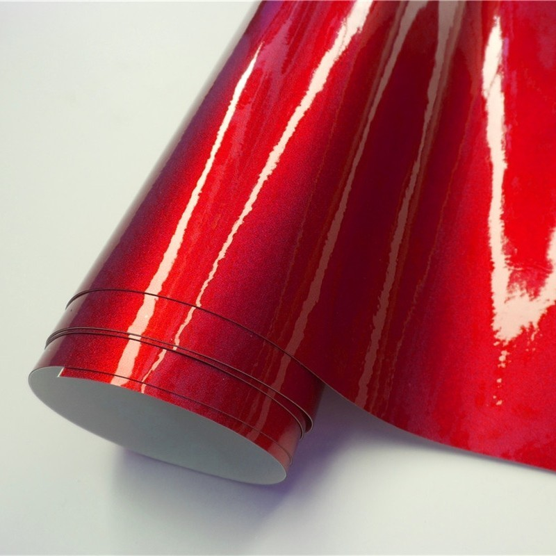 Ultra Glossy Red Metallic Car Vinyl Wrap Film Wrapping Foil Car Sticker Decal For Motor Computer Furniture Auto Graphic