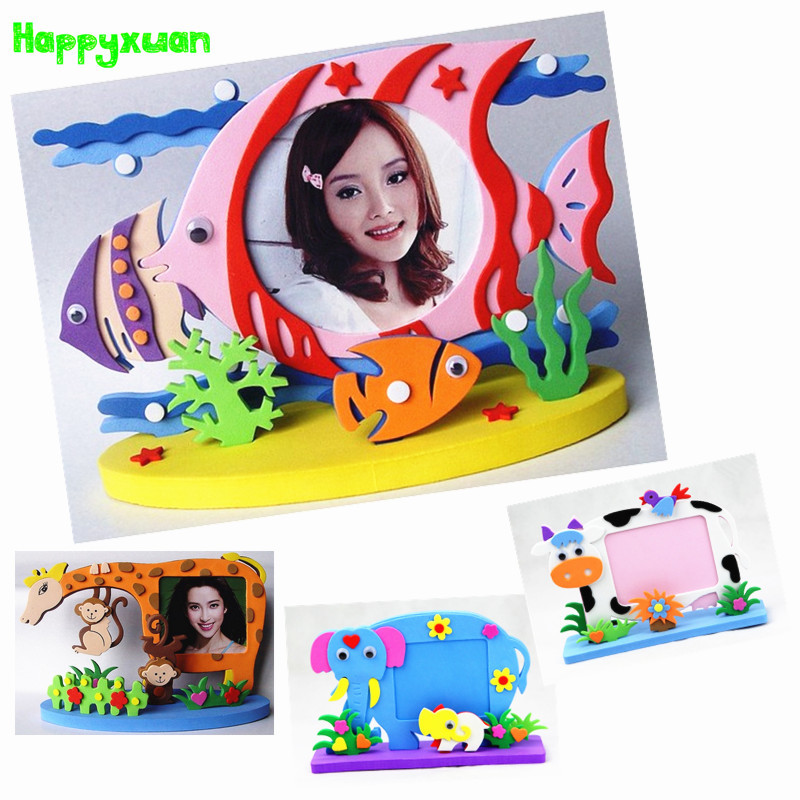 Happyxuan Kids DIY EVA Photo Frame Craft Kits Preschool Baby Creative Educational Toys For Children Owl Dinosaur Fish