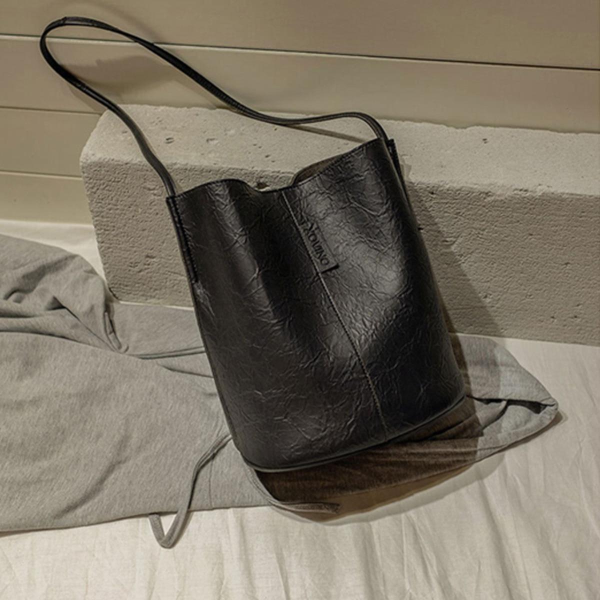 Black Large Capacity Bucket Bags Vintage Women Handbag Casual PU Leather Shoulder Messenger Bags Ladies Purse Feminina Bolsa