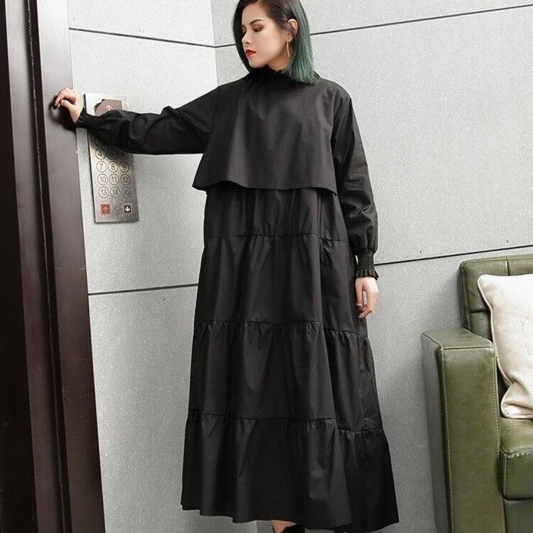 #0701 Spring Autumn Yellow Black Multi ladyer Plus Size Dress Women Pleated Personality Ladies Long Sleeve Dresses Loose Femme