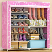 Large Capacity 6 Grids Metal Double Shoe Stand Modern Home Storage Cabinet Assembly Dust proof Shoes Rack Organizer Shelving