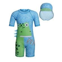 Boys swimwear with hat Child Sun-protection Surfing Swimsuit Kids Baby Boy Dinosaur Beachwear Toddler Bathing Suit