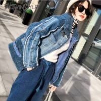 TWOTWINSTYLE Korean Faux Lamb Fur Coat Women Long Sleeve Patchwork Denim Jackets Female Fashion Plus Thick 2018 Winter Tide