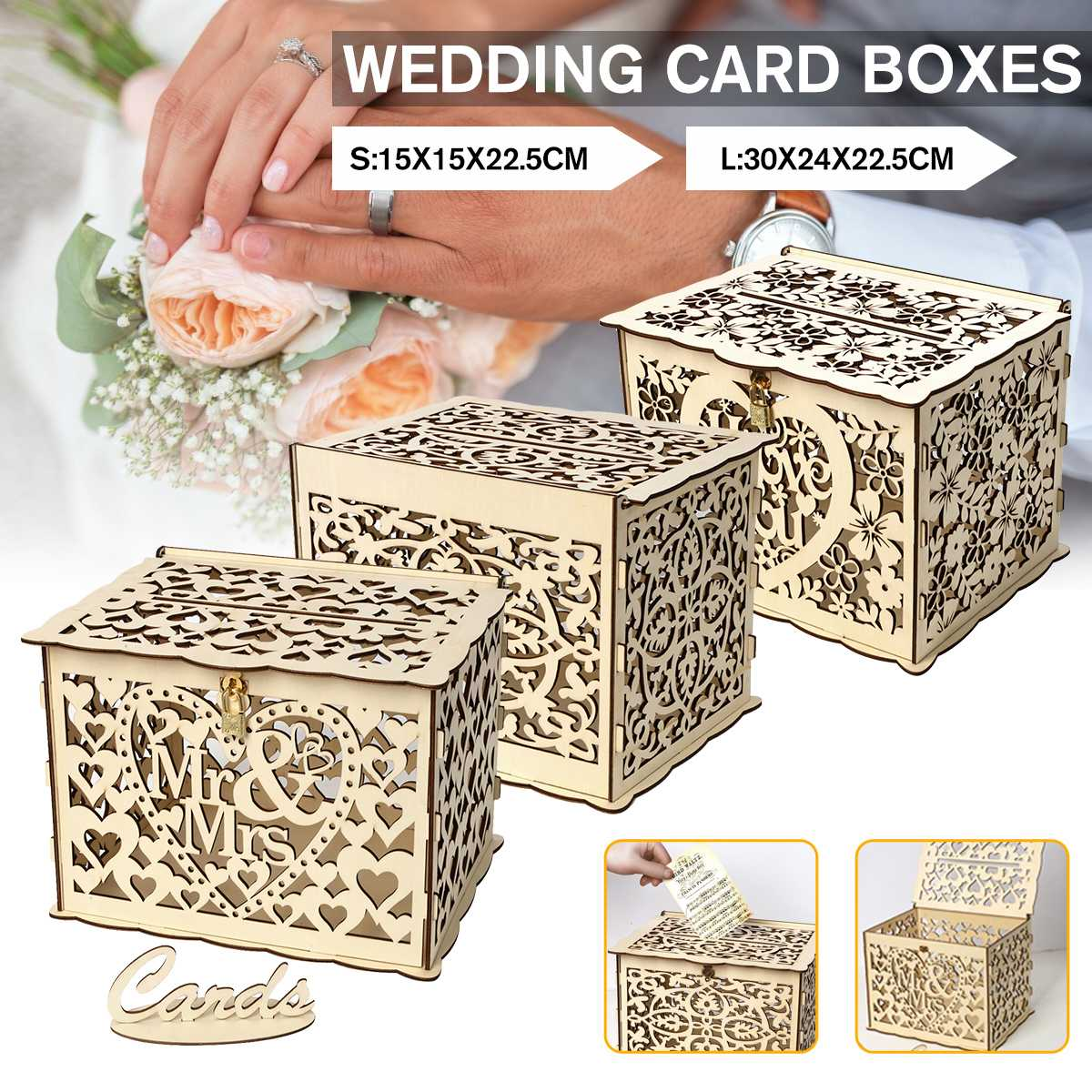 S/M/L Size DIY Wedding Gift Card Box Wooden Money Box With Lock Beautiful Wedding Decoration Supplies For Birthday Party