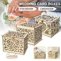 S M L Size Diy Wedding Gift Card Box Wooden Money Box With Lock Beautiful Wedding Decoration Supplies For Birthday Party
