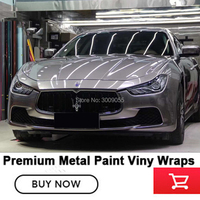 High flexibility viny Glossy metallic vinyl Car Wrap combat grey wrapping car real picture show.5 Years Warranty for High end