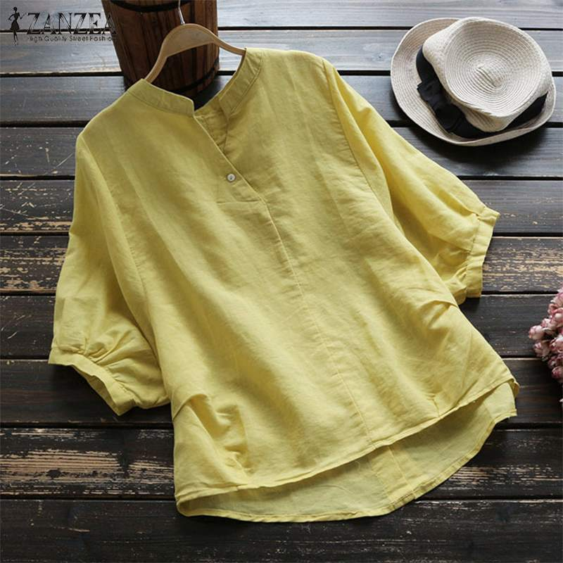2019 Plus Size ZANZEA Spring Women Casual Solid V Neck 3/4 Lantern Sleeve Vintage Cotton Linen Loose Irregular   Blouse     Shirt   Tops