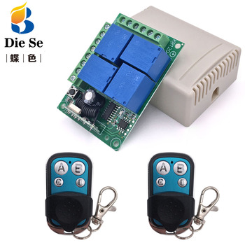 цена на DC 12V 10A 4CH 433Mhz  rf Switch Relay Receiver and Transmitter 4 button for Garage Remote Control and Remote Light Switch