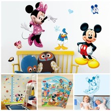 Hot Cartoon Mickey Mouse Minnie Mouse Wall Stickers For Kids Room  Nursery Decoration DIY Adhesive Mural Removable Vinyl Poster цена