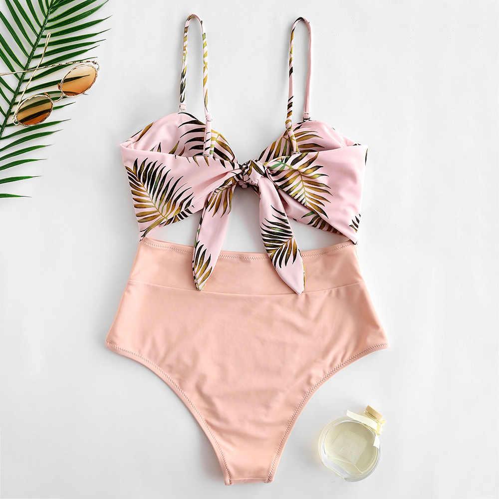 ZAFUL 2019 lato liść drukuj strój kąpielowy jednoczęściowy strój kąpielowy z wycięciem przedni łuk węzeł krawat wysokiej zwężone stroje kąpielowe damskie stroje kąpielowe