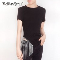 TWOTWINSTYLE Casual Solid Women T Shirt Diamonds Tassel Patchwork O Neck Short Sleeve Tops Female Fashion 2019 Summer Korean New