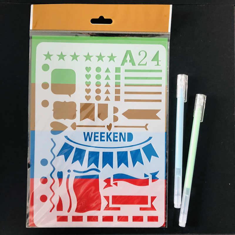 1 Pc 週末バナーペット階層化ステンシル Diy のスクラップブック描画色スタンプ Do リストステンシル弾丸ジャーナル用品 a5