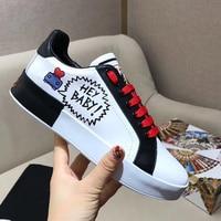 Брендовая дизайнерская женская обувь на плоской подошве с граффити, кожаная женская обувь на плоской подошве со шнуровкой, белые женские по