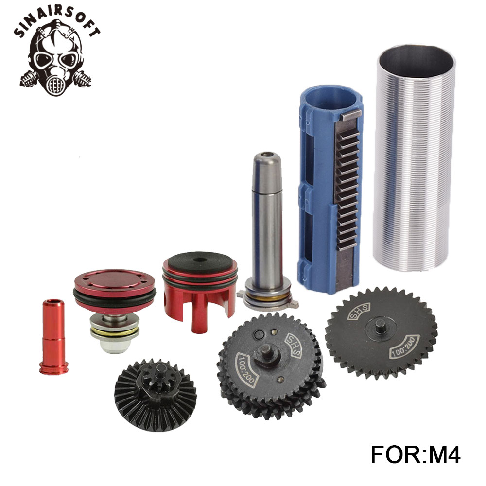 SHS 100:200 Gear Nozzle Cylinder Spring Guide 14 Teeth Piston Kit Fit Airsoft M4 MP5 AK G36 For Paintball Hunting Accessories