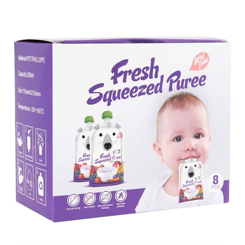 8Pcs 200ML Reusable เก็บอาหารบีบถุงอาหารเครื่องดื่ม Spout แบบพกพาผักผลไม้อาหารเด็กกระเป๋า 2019 ขายร้อน