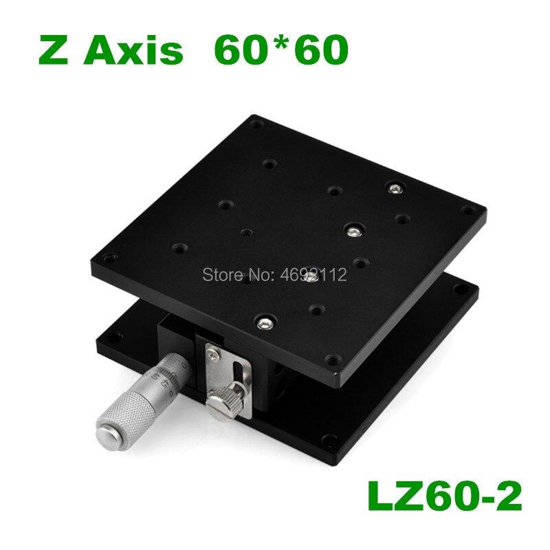 Gratis Verzending Lz60-2 Z60-2 Z-as 60*60mm Verplaatsing Lift Stage Manual Fine Tuning Platform Double Cross Rail Sliding Tafel Winst Klein
