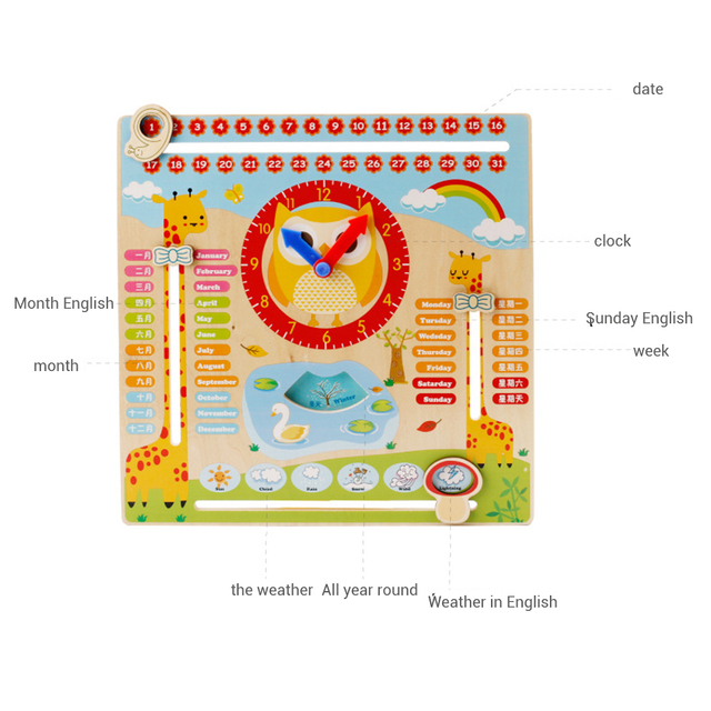Educational Wooden Clock Toy Calendar Board Teaching Clock Show Calendar Chart Date Season Weather Kids Cognitive Toy