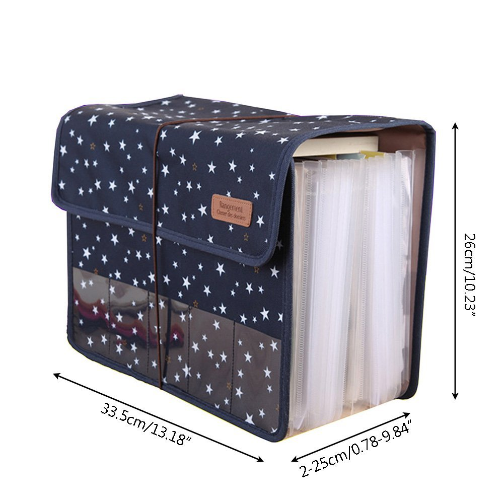 Cute Portable Expandable Accordion 12 Pockets A4 File Folder Oxford Expanding Document Briefcase