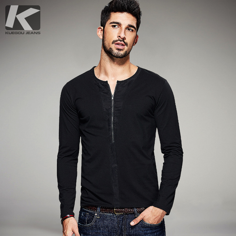 KUEGOU Autumn Mens Casual T Shirts Zipper Patchwork Black Color Brand Clothing For Man's Slim Long Sleeve T-Shirts Tops Tee 1098