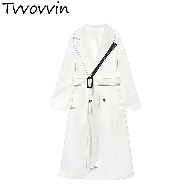 Woman Coats Turn-down Collar Belt White Black Color Matching Womens   Trench   Coats Color Matching Plus Size Long Coats E191