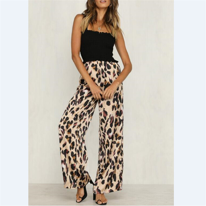 New Ladies Women   Pants   Animal Leopard Print Wide Leg Trousers Fashion Loose High Waist Women   Capris   Hot