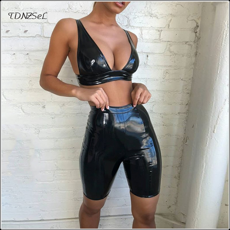 Women Sexy PU Leather Bra Shorts 2 Two Piece Sets Backless Low Cut Tank Crop Tops High Waist Skinny Short Capris Nightclub Party