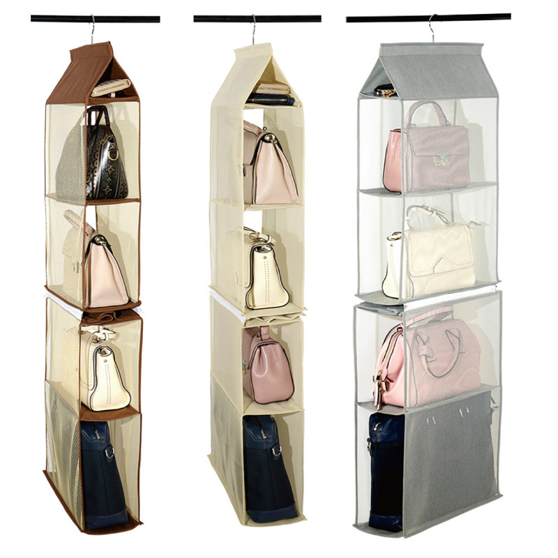 4 Layers Hanging Handbag Organizer For Built-in Hanging Bags Non-Woven Storage Bag Door Wall Clear Sundry Shoe Bag Hanger Pouch