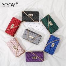 Small Dull Polish Blue Rubber Jelly Crossbody Bag For Women 2019 Argyle Grid Gold Chain Shoulder Bag Women Purple Bolsa Feminina