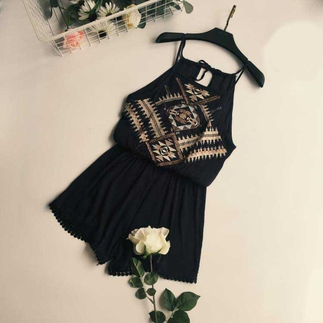3 Colors Summer Women National Style Bohemian Jumpsuit Fashion Sexy Beach Playsuits Female Strapless Bodysuit