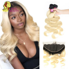 1B 613 Honey Blonde Ombre Body Wave Weave,Weft,3 4 28 30 inch Virgin Human Hair,Bundles,Deal with 13X6 Lace,Frontal,Closure(China)
