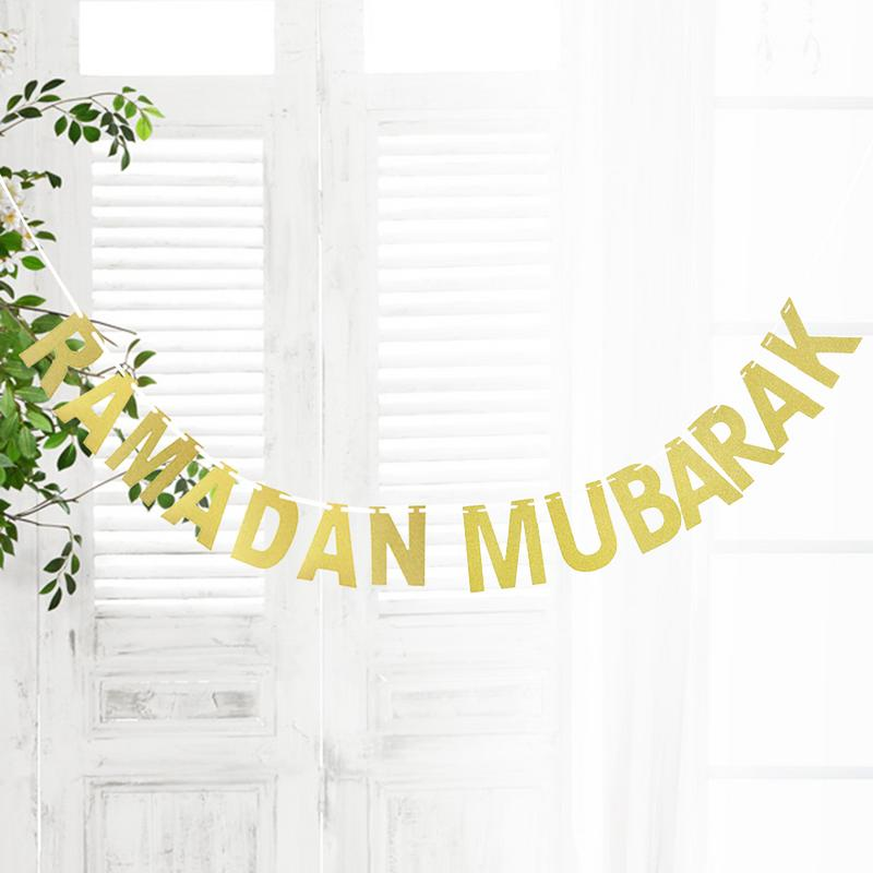 Ramadan Mubarak Golden Letter Decoration Banner Golden Letter Decoration Hanging Flag For Festival Birthday Fast Delivery in Banners Streamers Confetti from Home Garden