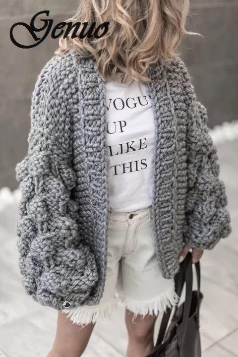 A Mano a Maglia Cardigan Delle Donne di 2019 di Modo di Inverno Cappotto Manica Lunga Cardigan Maglione di Inverno Delle Donne Magliette E Camicette Vestiti Beige
