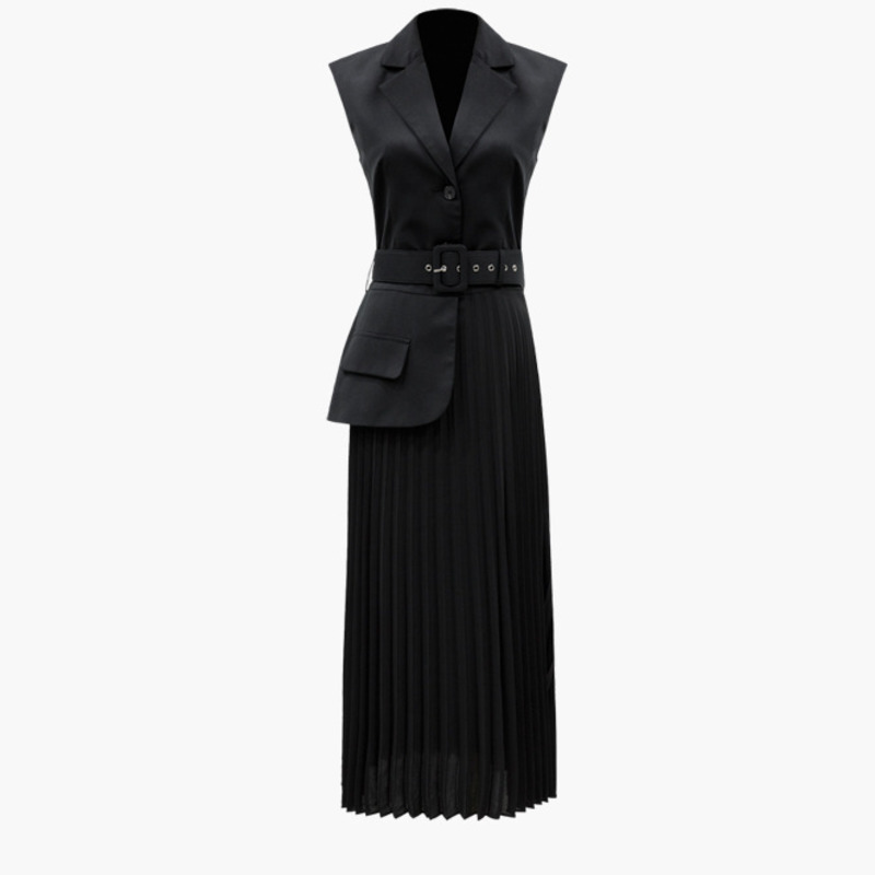 LANMREM 2019 Summer new fashion clothes for women notched sleeveless Split Joint Pleated hemline False Two